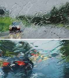 Nope, not photographs. Hyperrealistic Rainy Windshield Drawings by Elizabeth Patterson. More at the link:  http://www.thisiscolossal.com/2013/06/rainscapes-hyperrealistic-rainy-windshield-drawings-by-elizabeth-patterson