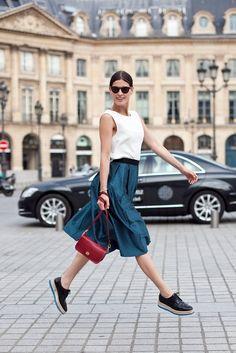 Brocade skirt & coach shoulder bag
