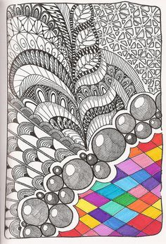 Zentangle with a little bit of color Tangle Doodle, Tangle Art, Zen Doodle, Doodle Art, Zentangle Drawings, Doodles Zentangles, Doodle Drawings, Doodle Patterns, Zentangle Patterns
