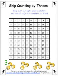 Skip counting worksheets. You'll need to make your own version though, b/c their's isn't correct!