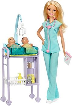 Let young imaginations be the doctor with Barbie dolls and medical play sets! Barbie baby doctor doll is ready to see patients with an exam table, accessories to care for patients and TWO adorable babies Her office set does double duty with a care station that features two tubs, a moving mobile and storage space