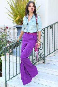 purple palazzo pants with chambray shirt