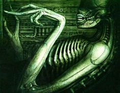 ALIEN, 1979: one of the best science fiction movies ever made. H R Giger the Swiss artist who designed the creature has to be the creepiest artist of all time. His other work includes the cover art for ELP's 1974 Brain Salad Surgery album.