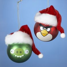 Angry Birds with Santa Hats Ornament Set -- Continue to the product at the image link. (This is an affiliate link) #Ornaments