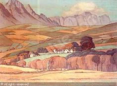 A view in the Stellenbosch Valley with Simonsberg and the Hottentos Holland beyond, South Africa sold by Bonhams, London, on Wednesday, March 2000 South Africa Art, African Paintings, South African Artists, Mountain Art, Artist At Work, Holland, Wednesday, Art Projects, Passion