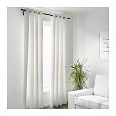 IKEA - MERETE, Curtains, 1 pair, 145x300 cm, , The thick curtains darken the room and provide privacy by preventing people outside from seeing into the room.The eyelet heading allows you to hang the curtains directly on a curtain rod.Effective at keeping out both drafts in the winter and heat in the summer.