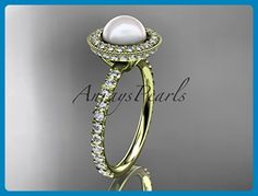14k yellow gold diamond pearl vine and leaf engagement ring AP106 - Wedding and engagement rings (*Amazon Partner-Link)