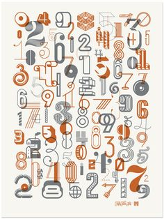 The numbers 2 Poster - limited edition poster featuring a collection of creative number designs created in collaboration with designer, Michael Spitz.