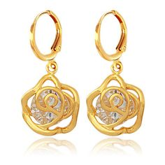 Gold - Luxury 18K Gold Platinum Plated Earrings High Quality AAA+ Zirconia Jewelry