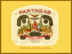 Cuban Cigar Label PosterPartagasBar Art Decor