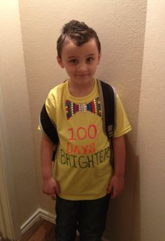 day of school shirt. 100 Rhinestones used to create bow tie. 100 Day Of School Project, School Week, School Daze, 100 Days Of School, First Day Of School, School Projects, 100s Day, 100 Day Celebration, School Themes