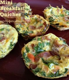 A recipe for mini quiches that is low cal and easy to make breakfast-on-the-go. Mix it up by adding in any veggies. Freezes well - you can make in advance.