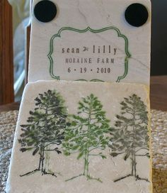 Personalized Wedding Coaster Favors Pine Tree Set by MyLittleChick. $72.50, via Etsy.