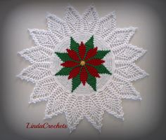 Free Crochet Christmas Doily Patterns | ... crocheting from a photo of a finished piece and not an actual pattern