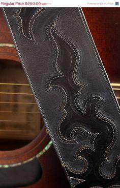 SALE Black leather guitar strap: The Raven River Guitar Strap