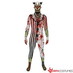 This Adult Scary Clown Jaw Dropper Morphsuit turns you into the most horrifying thing ever seen.a clown! Scary Couples Costumes, Creepy Halloween Food, Creepy Halloween Costumes, Couple Halloween Costumes For Adults, Adult Halloween, Adult Costumes, Clown Costumes, Halloween Ideas, Couple Costumes