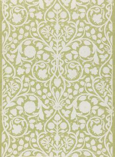 This French wallpaper was block printed by Paul Balin between 1880 and 1898. It features imitation needlework, foliage and Tudor rose motifs.