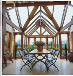 Atrium-inspired barn conversion for the dining area.