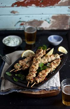 Grilled chicken kebabs with lemon, chilli and mint and an easy home-made tzatziki recipe | DrizzleandDip.com #recipes #food