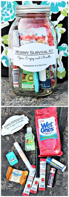 DIY Gift In A Jar Mommy Survival Kit - 35 Unique DIY Mason Jar Gifts for Everyone - Page 4 of 6 - I Heart Crafty