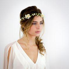 Couronne de fleurs ivoire et verte: Paloma - Mariage