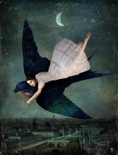 """""""Let us step out into the night and pursue that flighty temptress, adventure"""" J.K. Rowling. Art by Christian Schloe"""