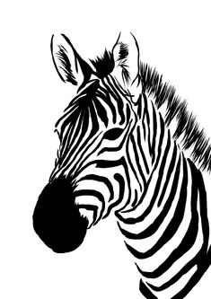 amazing animal (Zebra) graphic flat b&w drawing - who is artist/graphic designer/illustrator? Stencil Animal, Stencil Art, Stencils, Zebra Pictures, Face Pictures, Zebra Kunst, Animal Drawings, Art Drawings, Zebra Face