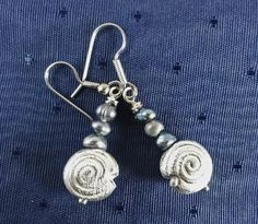 Seashell Earrings with pearls by GemstoneJewelrybyVal on Etsy, $10.00