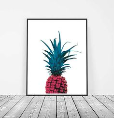 Pineapple Print, Digital Download, Printable Art, Pineapple Art, Fruit Print