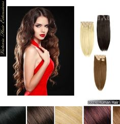 24 inch (60cm) long DOUBLE WEFTED 200g. Full Head Human Clip In Hair Extensions