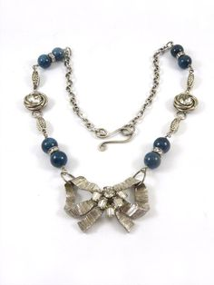 Repurposed Necklace Vintage Jewelry Upcycled Rhinestone Silver Bow Pin Brooch Dark Blue Teal Apatite Gemstone One of a Kind. $46.00, via Etsy.