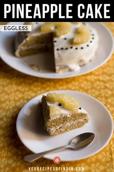 eggless pineapple cream cake recipe with step by step photos. learn how to make eggless pineapple cream cake pastry at home. Pineapple Cream Cake Recipe, Eggless Pineapple Cake, Pineapple Pastry, Eggless Desserts, Eggless Recipes, Eggless Baking, Egg Desserts, Best Cake Recipes, Sweet Recipes