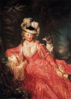 """Artist: Anna Dorothea Therbusch (1721–1782) Title: Wilhelmine Encke, Countess Lichtenau Date: 1776 Medium : oil on canvas Dimensions : Height: 143 cm (56.3 in). Width: 103 cm (40.6 in). Current location: New Palace (Potsdam)"""