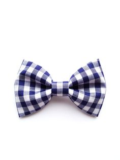 Handmade Classic Bow Tie Pin Brooch For Women and Men Boys and Girls Vintage inspired Check Navy Blue Retro Chic Modern :). $15.00, via Etsy.