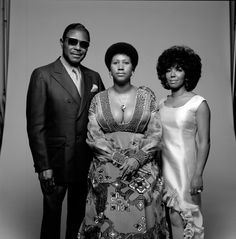 Aretha Franklin with her father C.L. Franklin and sister, fellow singer Carolyn. New York, 1971