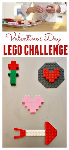 My daughter LOVES Lego challenges and they are fun and easy to set up or make into a theme like this Valentine's day activity.