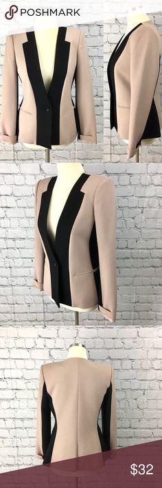 BCBGMAXAZRIA beige and black blazer M Excellent condition. Pinkish beige/cream. BCBGMaxAzria Jackets & Coats Blazers