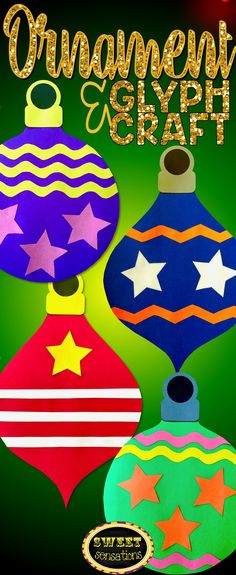 Bright and cheerful Christmas ornament craft (for a bulletin board, not a tree!).  Can be used as a glyph activity or decorated as a fun holiday craft.