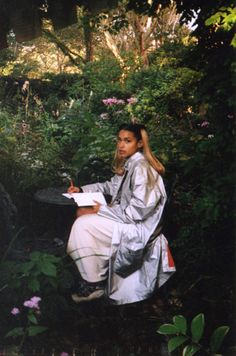 PICTURE THIS: FAITH ALL DECKED OUT IN A DREAMY WHITE ENSEMBLE (CORD OUTFIT) AMONGST FLOWERS, TREES AND OTHER NATURE THINGS moondunes: (via Princess Nokia - Sex Magazine)