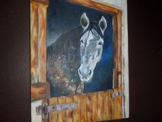 Horse in stable. Oil on canvas
