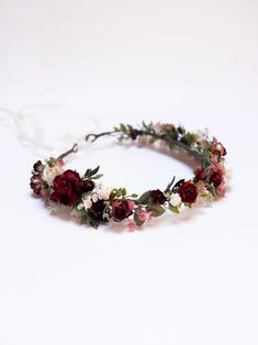 Burgundy flower hairpiece Bridal floral accessory Rustic   Etsy