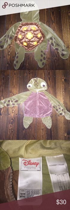 """Disney Store Finding Nemo Turtle Iike new!! Easy on zip up hooded """"jacket"""" style costume! The cool baby hippie surfer turtle dude """"Squirt"""" son of """"Crush"""" from disney's finding Nemo and Findin Dory movies. Great quality Disney store costume!! Disney Costumes Halloween"""