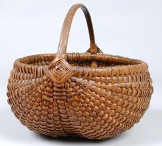 Woven Splint basket with fixed loop handle with go : Lot 746  SOLD 200$