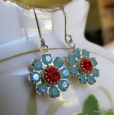 Swarovski Crystal Flowers on Sterling Silver  by RusticAdornments