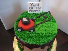 {Cute fondant Lawnmower by Two Cakes}