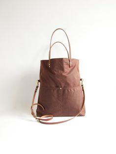 Waxed CANVAS and LEATHER Hobo Fold Over Tote Bag  MAREE  by byHOLM
