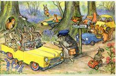M.Brett/森の駐車場/ハリネズミ/ウサギ/リス/ヴィンテージ絵葉書_画像1