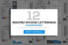 12 Resume/Letterhead/Invoice Bundle