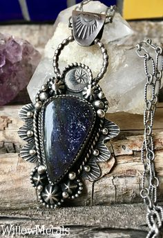 MoonStar Necklace in Iolite Sunstone Sterling Silver