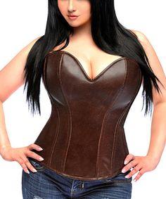 Dark Brown Distressed Faux Leather Corset - Women & Plus #zulily #zulilyfinds